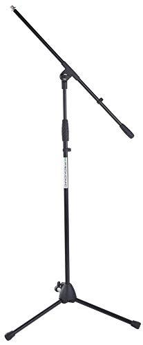 Pronomic MS-116 Mikrofonständer mit Galgen (stabiler Dreibein Galgenständer, höhenverstellbar, inkl. Reduziergewinde und Kabelklemmen, schwarz)