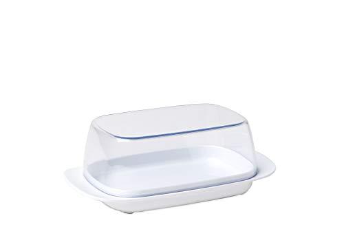 Mepal Butterdose White – für 250 g Butter – transparenter Deckel – passt genau in die Kühlschranktüre – spülmaschinenfest, Melamine/SAN, Weiß, 17 x 9.8...