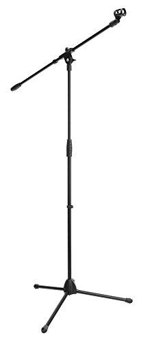 McGrey MBS-01 Mikrofonständer mit Galgen und Mikrofonklemme (Schwenkarm, höhenverstellbar bis ca. 154 cm, Dreibein, Kabelklemmen, Länge Galgen ca. 75 cm) schwarz