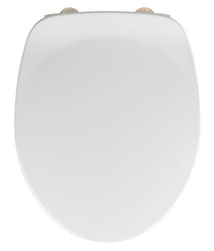 Wenko WC-Sitz Armonia - Toiletten-Sitz, mit Absenkautomatik, rostfreie Fix-Clip Hygiene Edelstahlbefestigung, 36,5 x 44,5 cm, weiß