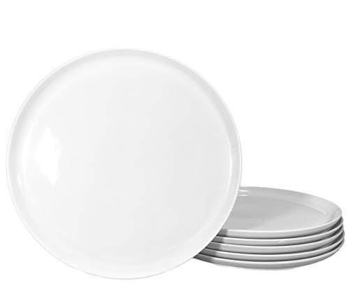 Set aus 6 Stück Pizzateller Frühstücksteller weiß Ø 300 mm aus echtem Porzellan