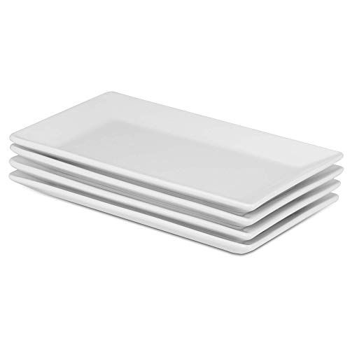 Set of 4 porcelain serving plates | High quality white plates | Perfect for buffets, desserts, appetizers and entrees Dishwasher, Microwave & Oven Safe ...