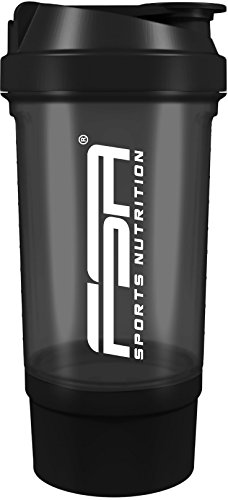 Protein shaker with powder compartment for creamy shakes with strainer and container, BPA free and leakproof from FSA Nutrition - Black