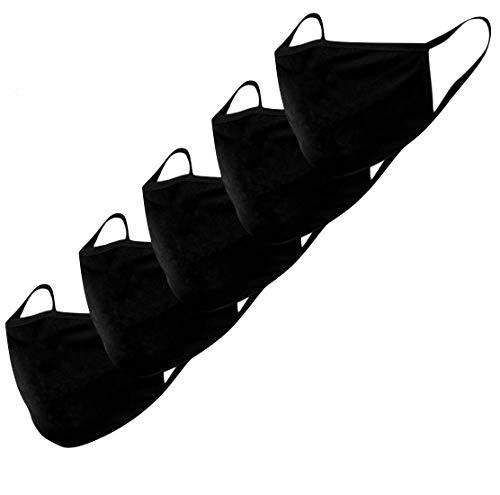Stoffmaske Mund-Nasen-Schutz Behelfsmasken 5 Stück waschbar wiederverwendbar schwarz Baumwolle Damen Herren Tröpchen Schutz Anti Staub resistent gegen Speichel,...