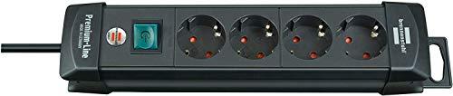 Brennenstuhl Premium-Line, Steckdosenleiste 4-fach (Steckerleiste mit Schalter und 1,8m Kabel -45° Winkel der Schutzkontakt-Steckdosen, Made in Germany) schwarz