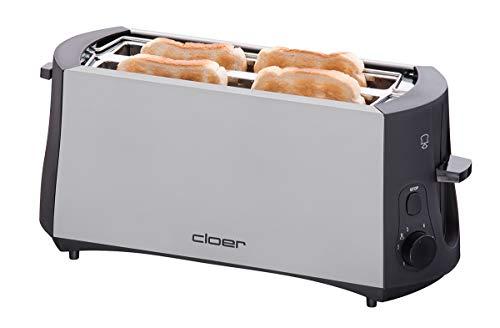 Cloer 3710 Langschlitztoaster für 4 Toastscheiben / 1380 W / integrierter Brötchenaufsatz / Nachhebevorrichtung / Krümelschublade / mattiertes wärmeisoliertes...