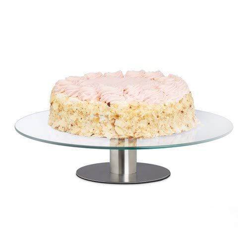 Relaxdays cake plate rotatable, stand, cake plate for decoration, pies Turntable for cake, Ø 30cm, transparent