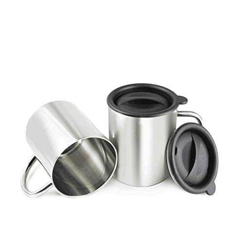 BeGrit 2 Pieces Camping Cup Stainless Steel Water Cup Portable Double Wall Mug Stainless Steel Cup With Lid Handle Carabiner 400ml For Hiking Trekking Work