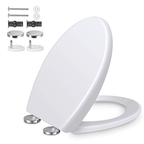 Toilettendeckel, Oval WC Sitz mit Absenkautomatik und Quick-Release Funktion, Antibacterial Toilettensitz mit Justierbaren Edelstahlscharnie(10-23cm), Leichte...