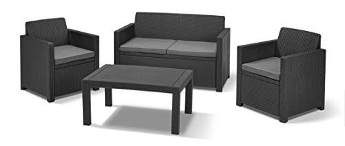 'Allibert by Keter' Merano Gartenmöbel Set aus Kunststoff, inkl. Sitzkissen, grau, 4-teilig, 2 Sessel, Sofa & Tisch, für Garten & Terrasse, flache Rattanoptik