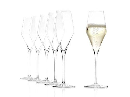 Stölzle Lausitz Champagnergläser Quatrophil 290ml I Champagnerkelche 6er Set bruchsicher I Schaumweingläser 6 Stück spülmaschinenfest I Edle Kristallgläser wie...
