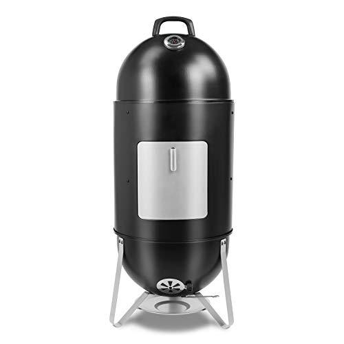 femor Räucherofen, 3in1 BBQ Holzkohlegrill mit Wasserschale, 2 Grillrost & Thermometer, Smoker mit regulierbarem Luftabzug, Räuchertonne zum Räuchern, Grillen &...