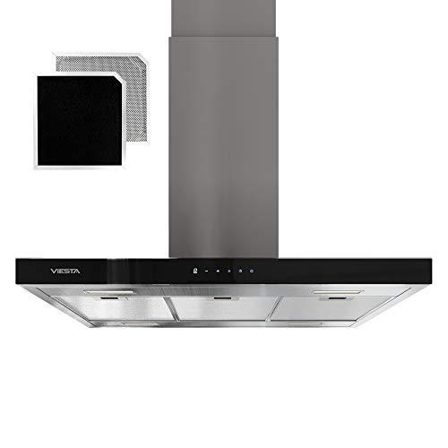 VIESTA VDI90230EG Dunstabzugshaube für Insel - Abzugshaube 90cm aus Edelstahl - Stilvoller Dunstabzug mit Touchpad und LED-Beleuchtung - Inselhaube als Abluft- und...