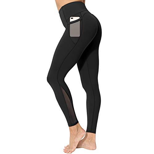 neppein Sport Leggings mit Taschen,Damen High Waist Blickdicht Leggings Sporthose Yogahose Fitnesshose, Schwarz, Gr. M