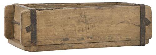 Alte Ziegelform 32x15x9,5 cm - Ein-Kammer - Vintage Holzkiste mit Metallbeschlägen - Echte, benutzte Form aus Indien aus Altholz gefertigt - Jedes Stück ein Unikat