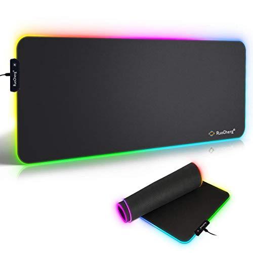 RGB Mauspad, 780 x 300 mm Gaming Mousepad mit 7 LED Farben 10 Beleuchtungs-Modi Mouse Pad Schreibtischunterlage Wasserdicht Anti Rutsch Matte für Computer PC...