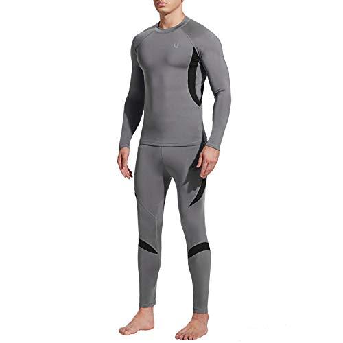 UNIQUEBELLA Thermounterwäsche Set, Funktionswäsche Herren Skiunterwäsche Winter Suit Ski Thermo-Unterwäsche Thermowäsche Unterhemd + Unterhose (Grau, L)