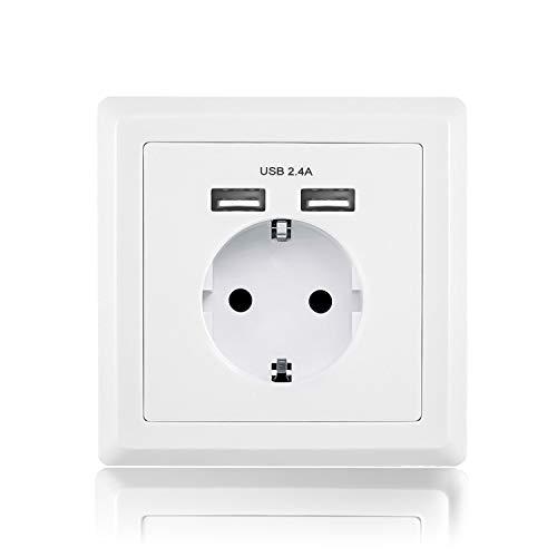benon Wand-Steckdose mit USB Anschluss - Weiß - Unterputz USB-Steckdose mit Überlastschutz und Kindersicherung - 2.4A USB (5V) - Schukosteckdose max. 3680W