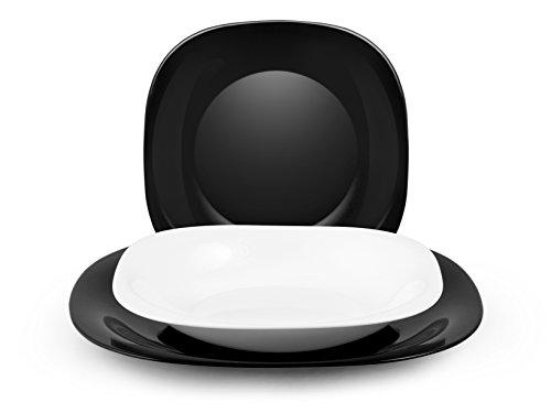 H&H Black & White Tafelservice, 18-teilig, Opalglas, Weiß / Schwarz
