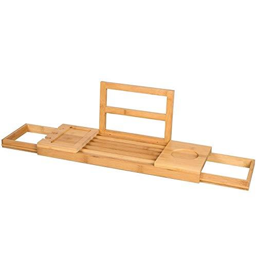 Todella bambu kylpyamme hylly kylpy silta 50-85x18cm kylpyamme kiinnitys kylpyamme hylly jatkettava kylpyamme hylly (A)