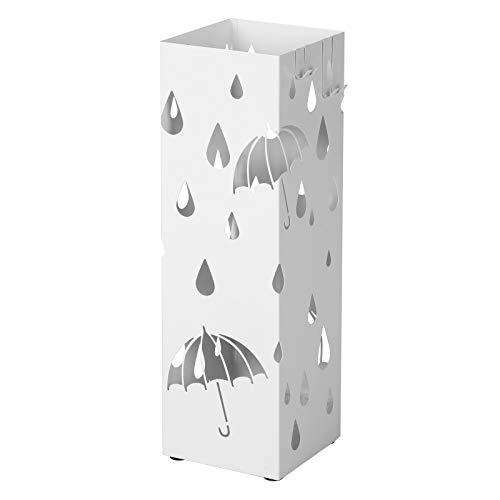 SONGMICS Regenschirmständer aus Metall, quadratischer Schirmständer, Wasserauffangschale herausnehmbar, mit Haken, 15,5 x 15,5 x 49 cm, weiß LUC49W