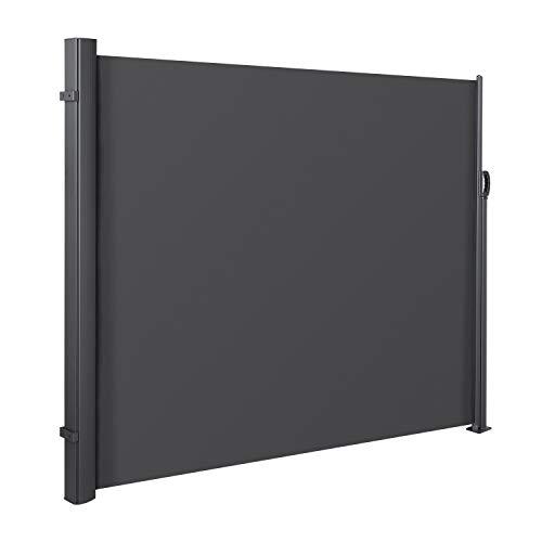 MVPOWER Seitenmarkise Alu 300x160 cm (LxH)-280 g/m² Ausziehbar Sonnenschutz Sichtschutz für Balkon, Terrasse, Garten, Seitenwandmarkise, Seitenrollo