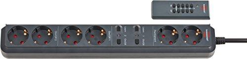 Brennenstuhl Eco-Line Funk-Steckdosenleiste 6-fach mit Fernbedienung (Steckerleiste mit 2 Permanent-Steckdosen und 2x2 getrennt schaltbaren Steckdosen,...