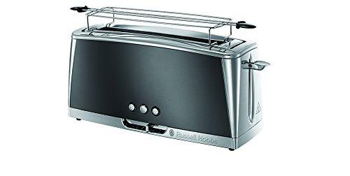 Russell Hobbs Toaster Langschlitz Luna grau, inkl. Brötchenaufsatz, 6 einstellbare Bräunungsstufen + Auftau- & Aufwärmfunktion, Schnell-Toast-Technologie, 1420W,...