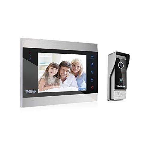 TMEZON Video Türsprechanlage Türklingel Intercom System, Türsprechanlage mit 1080P 7 Zoll 1-Monitor 1-Kamera Für 1-Familienhaus, Touch-Taste, Nachtsicht,...