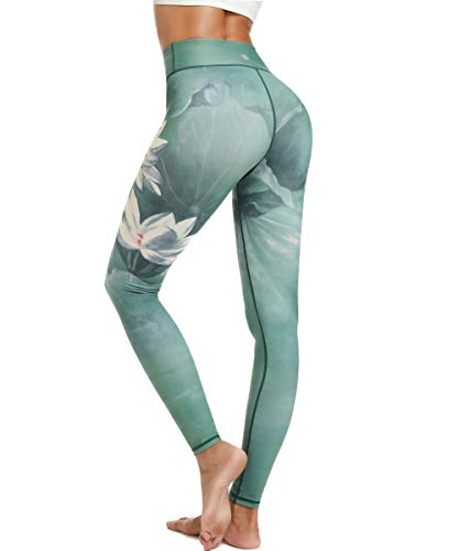 HAPYWER Damen Sport Leggings Lang Gym Trainings Jogging Hohe Taille Sporthose Stretch Yoga Hose(Lotos Grün,M)