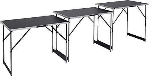 Meister Multifunktionstisch 3-teilig - 30 kg Tragkraft je Tisch (100 x 60 cm) - 4-fach höhenverstellbar - Klappfunktion / Beer-Pong Tisch / Tapeziertisch /...