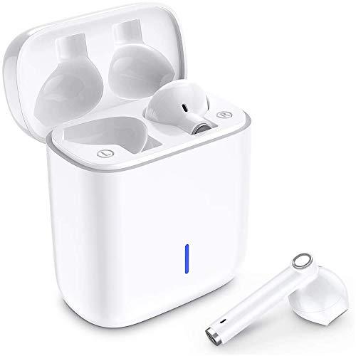Luvfun Bluetooth Kopfhörer, In Ear Kabellos Kopfhörer TWS Bluetooth 5.0 Headset Noise Cancelling Ohrhörer mit Mikrofon und Tragbare Ladehülle - Weiß