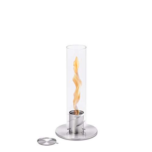 höfats - Spin 90 Silber - Bioethanolkamin für Indoor und Outdoor - Tischfeuer, Windlicht und Gartenfackel aus Edelstahl