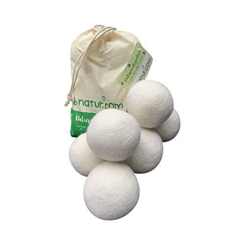 8-Natur - TÜV getestete Trocknerbälle für Wäschetrockner und Daunenjacken Schadstoff frei und tierfreundlich. Trockner Bälle aus 100% Reiner Schafwolle. Wool...