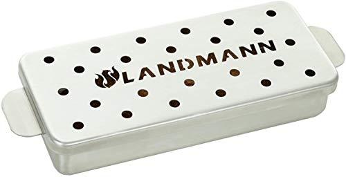 Landmann Räucherbox für Holzchips Holzpallets Räuchermehl, aus Edelstahl für Gasgrill Holzgrill Fassungsvermögen 700ml