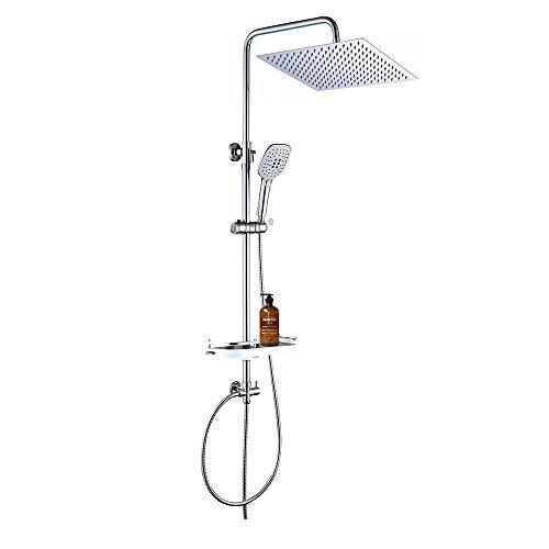 JOHO Edelstahl Regendusche Duschsystem Duschset Duschgarnitur mit Ablage (Kopfbrause 30x30cm)