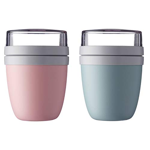 Mepal'Ellipse' Lunchpot to go 500 ml & 200 ml, Farbe & Stückzahl:Nordic Pink & Nordic Green