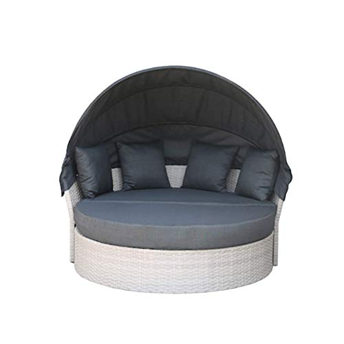 Convertible sun island Playa Living 165cm Incl. Cushions And Rotatable Seat Lounger Island Lounge Polyrattan Outdoor Capable Garden Furniture Sun Lounger Garden Lounger With ...