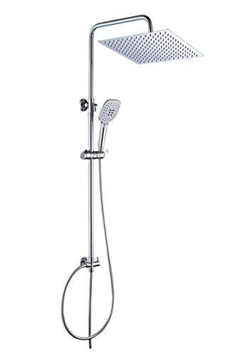 JOHO Duschset Duschstangeset Duschsäuleset Duschsystem mit Duschkopf aus rostfreiem Edelstahl 30x30cm eckig