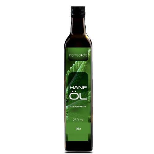 Natrea Bio Hanföl rein nativ | kaltgepresst aus 1. Pressung 100% reines BIO-Öl in 250 ml Lichtschutzflasche (1 x 0,25 l)