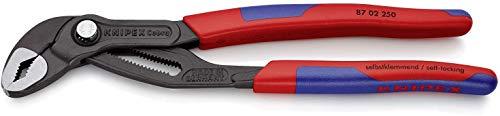 KNIPEX 87 02 250 SB Cobra® Hightech-Wasserpumpenzange grau atramentiert mit schlanken Mehrkomponenten-Hüllen 250 mm (in SB-Verpackung)