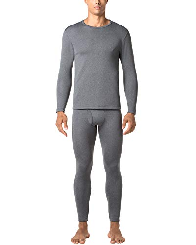 LAPASA Men's Inner Fleece Thermal Underwear Set Thickened Dark Gray Large MULTIWAY