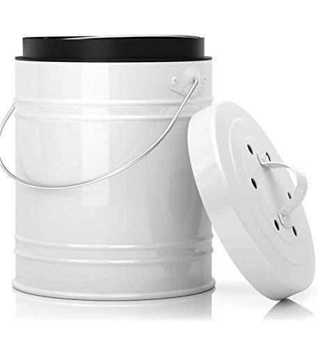 5 Liter Küchen Bio Mülleimer und geruchsdichter Komposter Eimer mit Aktivkohlefilter im Deckel – Biomülleimer Mülltonne mit Kunststoff Inneneimer – robuster...