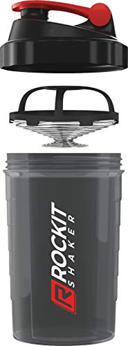 Rockitz Premium Protein Shaker 500ml - first class mixing function with infusion sieve - for super creamy fitness protein shakes, protein shake cups, black | red