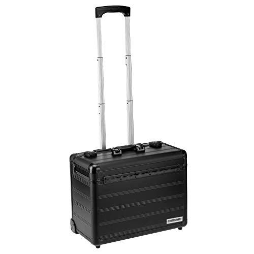 Business Trolley Pilotenkoffer Laptopfach TSA Schlösser Aluminium Oberfläche Schwarz