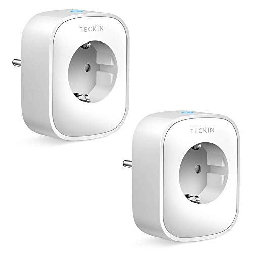 TECKIN WLAN socket Smart socket Plug Wifi plug Remote control and voice control IP sockets Measure power consumption, works with Google Home and ...