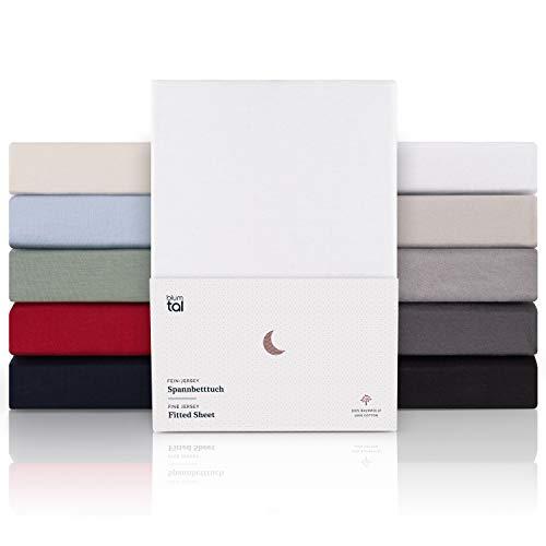 Blumtal Boxspringbett Spannbettlaken 180x200cm bis 200 x 220 cm - Superweiches 100% Baumwolle Spannbetttuch, bis 40cm Matratzenhöhe, Weiß