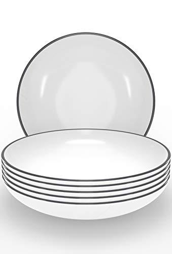 Suppenteller Set 6-tlg. - Tiefe Teller weiß im Trendy Skandinavischen Design - Spülmaschinenfeste Keramikteller - 6 Salat-, Suppen- und Pastateller - Stilvolles...