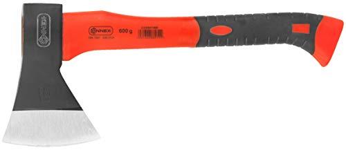 Connex Beil 600 g - Vibrationsarmer Glasfaserstiel - Kompakte Form - Gummiertes Griffende - Zur präzisen Bearbeitung von Holz / Handbeil mit Schneidschutz /...