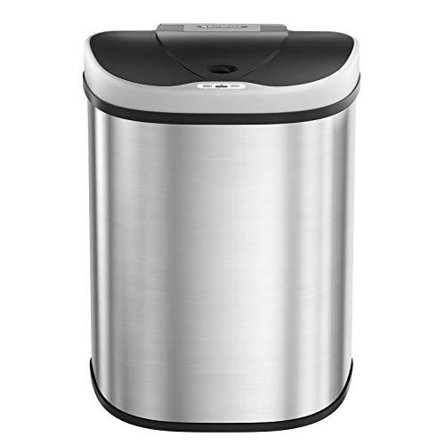 SONGMICS 70L Mülleimer mit Sensor, automatischer Abfalleimer, 2 x 35L Mülltrennsystem, Abfallbehälter mit 2 Fächern, berührungslos, für die Küche, silbern...